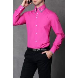 4112-1 Koszula męska slim fit - różowy