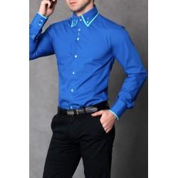 4112-2 Koszula męska slim fit - niebieski
